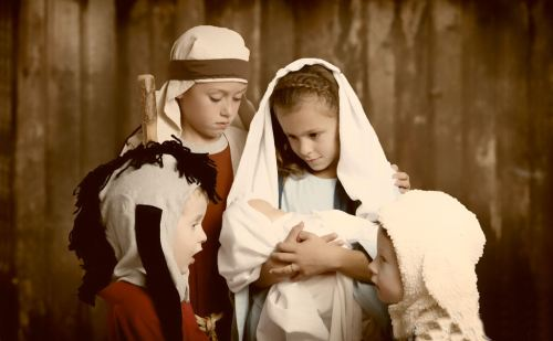kids & animals manger scene